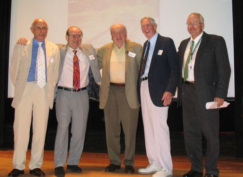 "First Reunion, Hudson Falls High School, Fall, 2007. Dr. Peter Lantos, Dr. Micha Tomkiewicz, Fred Spiegel, Carrol ""Red"" Walsh, Matthew Rozell. Greg McDowell photo."