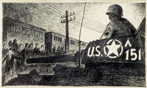 Liberation, April 13th, 1945. Drawing by survivor Ervin Abadi. USHMM.