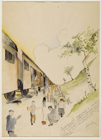 The Liberation of the Train, by Ervin Abadi. USHMM.