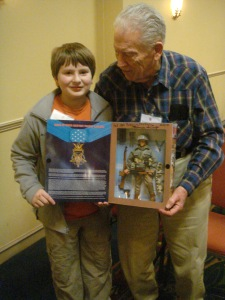 Francis Currey MOH and Ned Rozell March 2010-Ned is friends with the last WWII Medal of Honor recipient in NY and NE, Frances Currey. Yes, the special edition GI Joe he signed for Ned is 19 yr. old Frank!