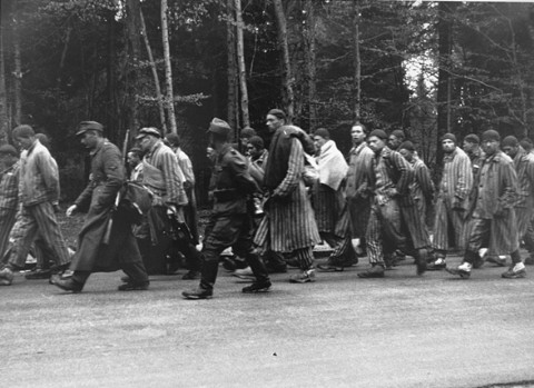 Prisoners on a death march from Dachau move towards the south along the Noerdliche Muenchner street in Gruenwald. German civilians secretly photographed several death marches from the Dachau concentration camp as the prisoners moved slowly through the Bavarian towns of Gruenwald, Wolfratshausen, and Herbertshausen. Few civilians gave aid to the prisoners on the death marches. Germany, April 29, 1945.  — KZ Gedenkstaette Dachau. USHMM
