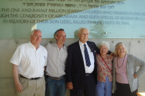 Matt Rozell, survivor Bruria's son, Frank Towers, two survivors Bruria Falik (of Woodstock, NY) and her sister at Israel's Holocaust memorial in Jerusalem, Yad Vashem.
