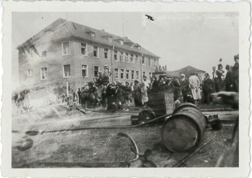 'Hillersleben-some disorderly DPs getting a shower bath (DDT?)' Soldier Luca Furnari photograph.