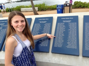 A 16 year old from our small town finds the 18 yr old from our small town at Pearl Harbor. Taken at USS Oklahoma Memorial, Pearl Harbor, 3-27-2013. Note Arizona Memorial in background.