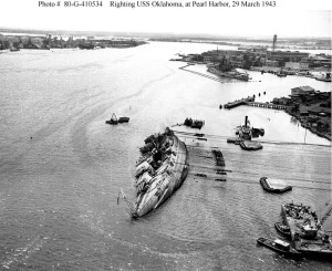 Righting the USS Oklahoma March 1943.