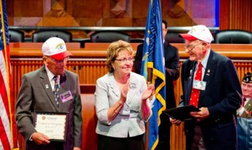 Gerry West and Bob Addison, World War II veterans who served in the same elite U.S. Marines unit and have remained lifelong friends, were inducted into the New York State Senate Veterans Hall of Fame at a ceremony in Albany today.