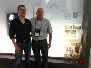 Bernd Horstmann, Custodian of the Book of Names,  Matthew Rozell, History Teacher, July 5, 2013. Bergen Belsen, Evacuation transports exhibit.