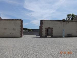 Ravensbruck. Prisoners' gate on left, SS on right.