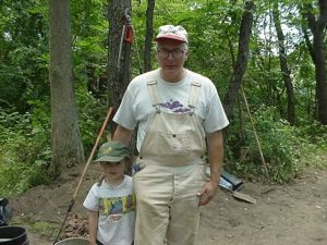 My son Ned and I, 2002, the sutler's site, Fort Edward.