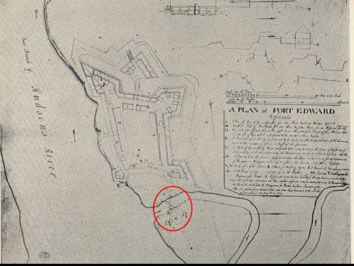 Period map showing location of sutler's complex. Island just to west of river.