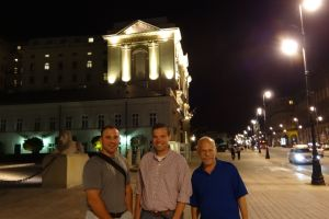 Traveling compadres Tim, Scott, and Alan in front of our hotel next to the Presidential Palace, Warsaw, Poland, summer 2013.
