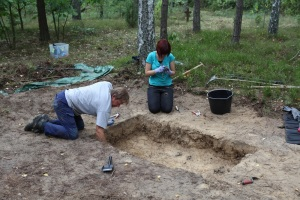 Archaeologist Caroline Sturdy Colls excavates at Treblinka. A documentary about the work airs on Saturday (March 29) on the Smithsonian Channel. Credit:  Smithsonian Channel