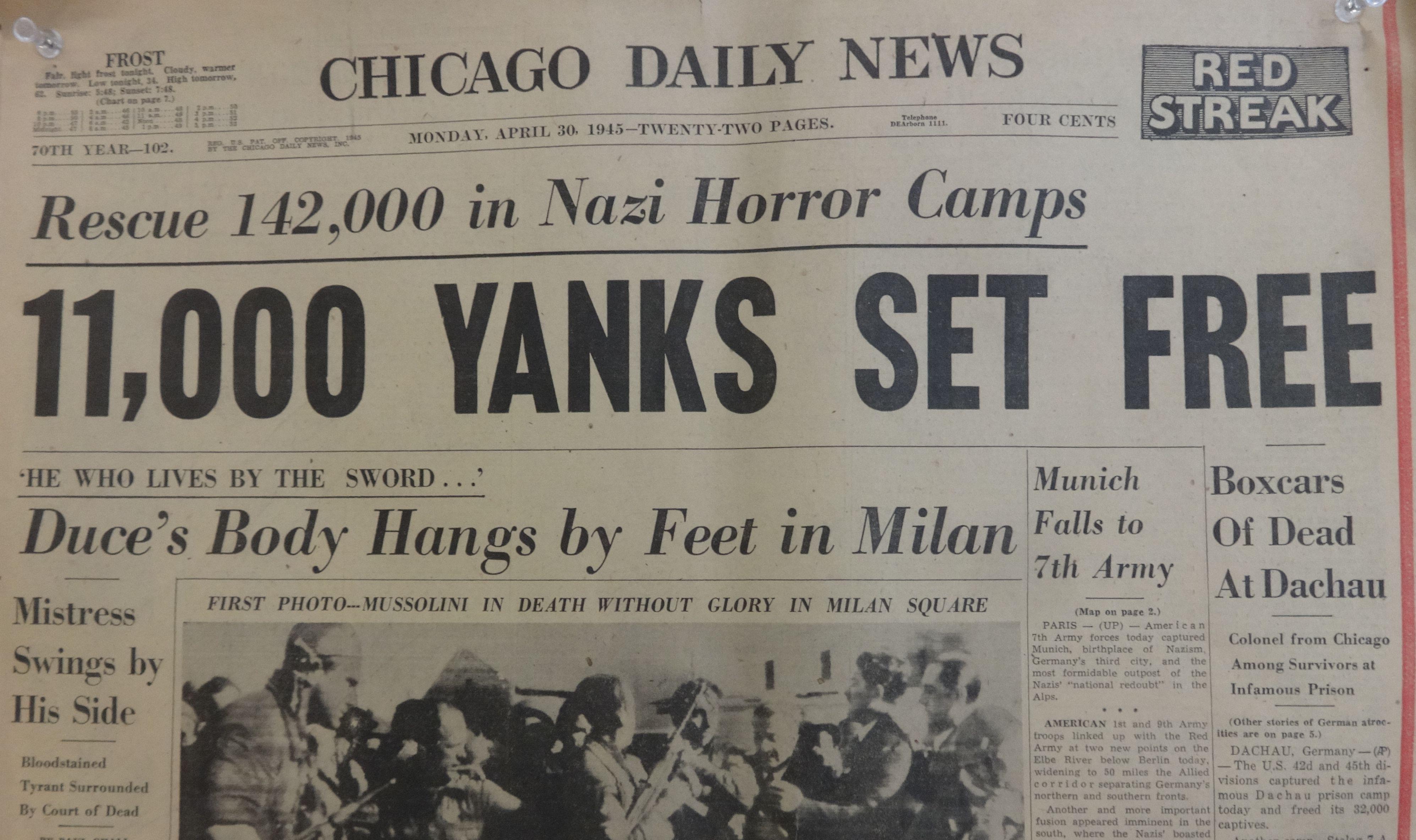 April 30 1945 Headlines. Hangs in my classroom.