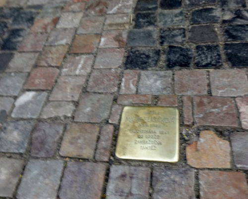 Prague. Stumble stone. Which is not stone at all, but will make you wonder.