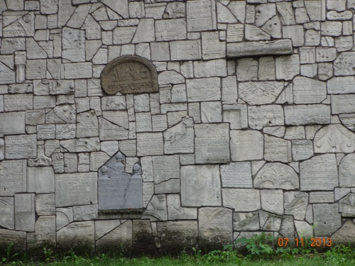 Restored Jewish Cemetery. Remuh. Wall constructed with gravestones destroyed by the Nazis.