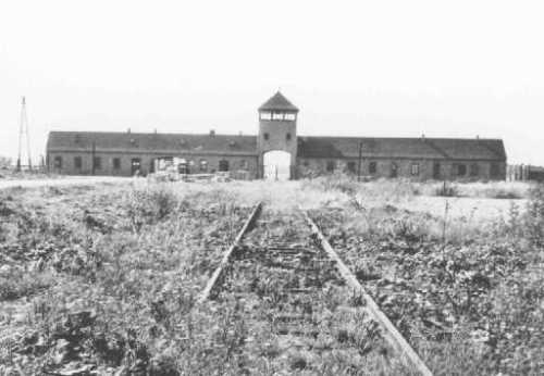Main entrance to the Auschwitz-Birkenau extermination camp. USHMM