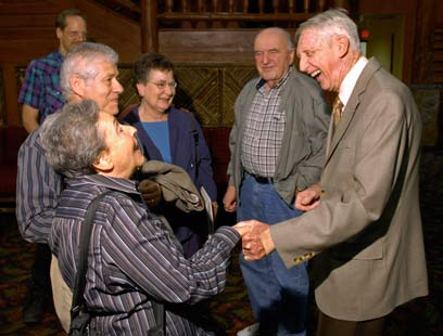 """Ariela meets her liberator Carrol """"Red"""" Walsh, Sept. 2009, at our """"reunion""""."""