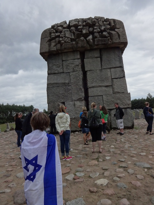The Soviet memorial at the site of the gas chambers. Kaddish is said. Treblinka II.