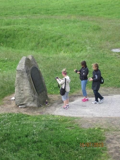 Memorial Stone. Note undulating terrain in background. Alan Bush photo.