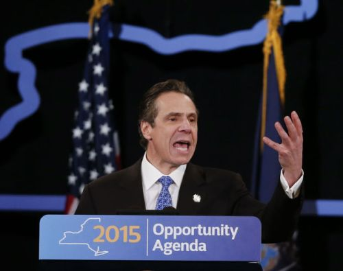 New York Gov. Andrew Cuomo delivers his State of the State address and executive budget proposal at the Empire State Plaza Convention Center on Wednesday, Jan. 21, 2015, in Albany, N.Y. (AP Photo/Mike Groll)