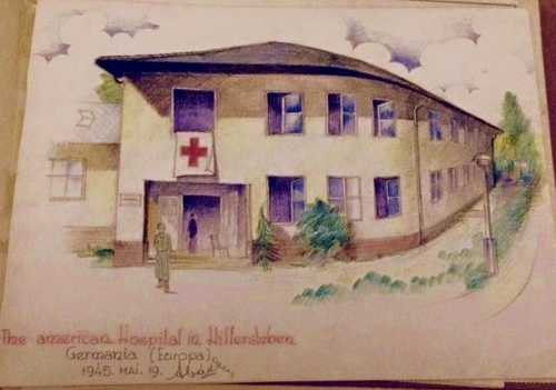 The American hospital at Hillersleben. Ervin Abadi. Completed at Hillersleben DP camp, May, 1945. Soldier Monroe Williams collection.