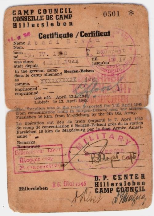 Hillerleben Displaced Persons certificate-Ervin Abadi