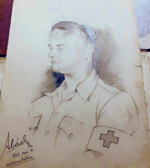 American soldier-medic at Hillersleben.  Ervin Abadi. Completed at Hillersleben DP camp, May, 1945. Soldier Monroe Williams collection.