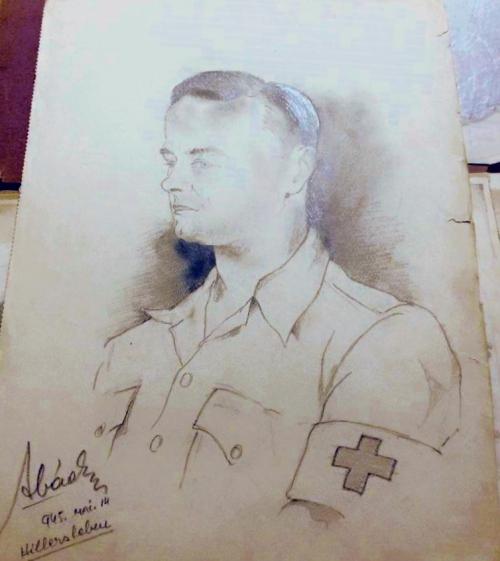 American soldier-medic at Hillersleben.  Ervin Abadi. Completed at Hillersleben DP camp, May, 1945. Soldier Monroe Williams collection.