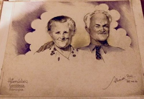 Soldier Monroe Williams' parents. Probably sketched from wallet photo.  Ervin Abadi. Completed at Hillersleben DP camp, May, 1945. Soldier Monroe Williams collection.