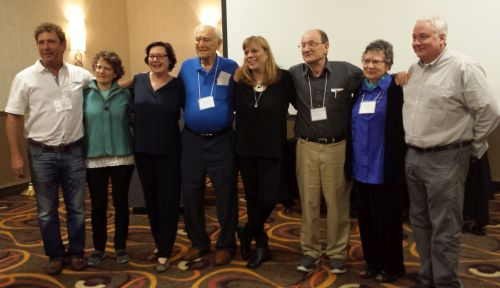 L-R: Peggy Wonder, 2nd G; Evelyn Markus, 2nd G; Frank Towers, liberator; Orly Beigel, 2nd G; Micha Tomkeiwicz, Elisabeth Seaman. Missing: Marc Boyman, 2nd G; George Somjen.