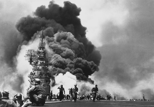 USS BUNKER HILL hit by two Kamikazes in 30 seconds on 11 May 1945 off Kyushu.  Dead - 372.  Wounded - 264.  (Navy) NARA FILE #:  080-G-323712