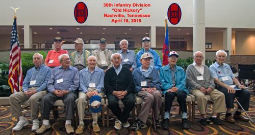 30th Infantry Division Veterans of World War II, Nashville Tennessee, April 2015, 70th anniversary of the end of WWII. Credit: Larry S Powell.