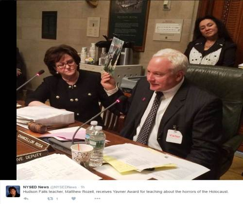 Commisioner Elia's (L) tweet. Chancellor Rosa, asked me to sit in her chair and address the Regents at their meeting, May 17. 2016.