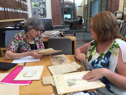 Chriss Brown when she first started showing Mr. Abadi's drawings to USHMM curator Judith Cohen. #USHMMCurators