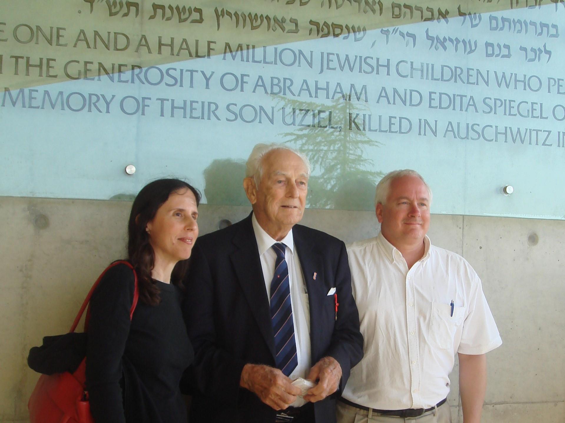 Varda Weisskopf, liberator Frank Towers, Matthew Rozell at Yad Vashem, May, 2011.
