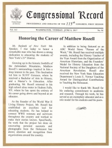CONGRESSIONAL RECORD Matthew Rozell